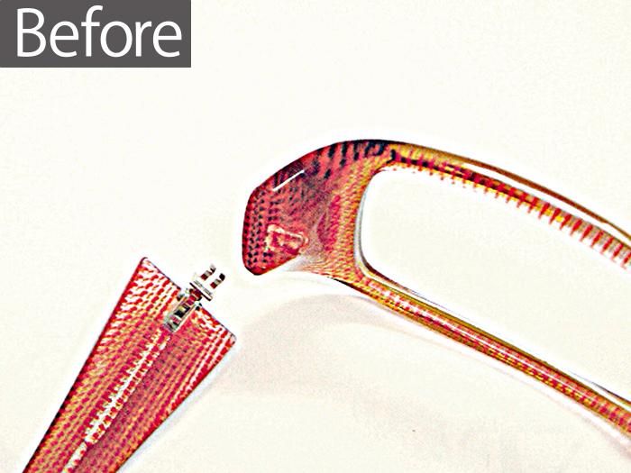 プラスチック枠丁番修理