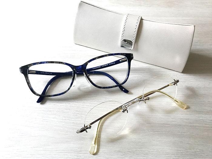 今回新調した中近メガネ(左)と調整してかけ心地が良くなった近眼用のメガネ(右)。